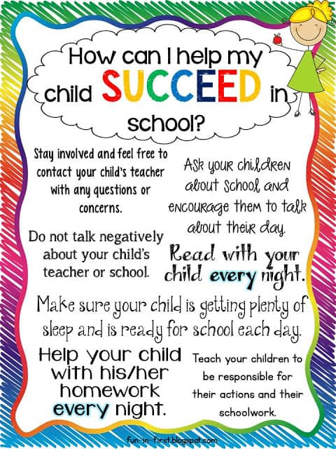 Tips for Parents...How to Help My Child Succeed - Fun in First