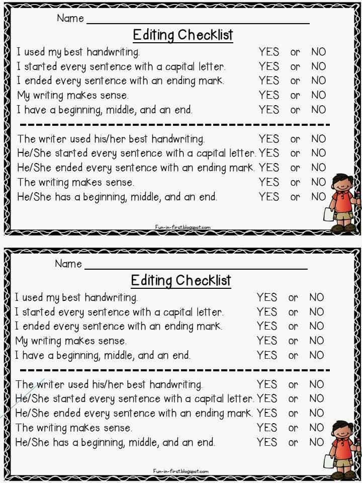 Peer editing checklist expository essay