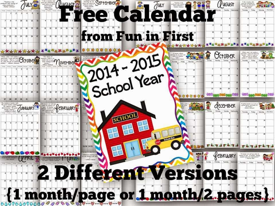 Calendar Archives  Fun In First