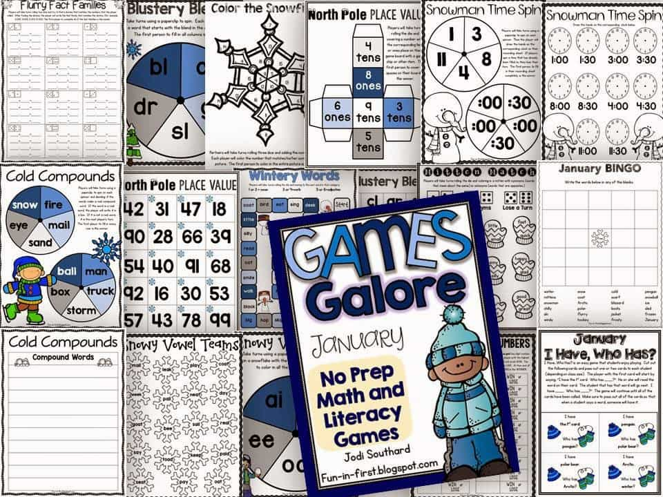 http://www.teacherspayteachers.com/Product/Games-Galore-No-Prep-Math-Literacy-Games-for-January-1607273