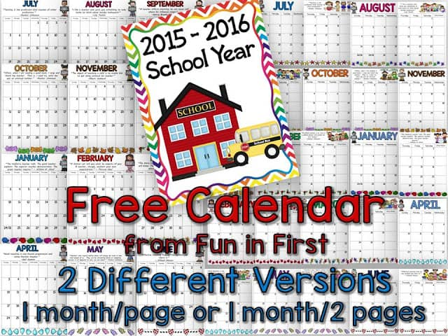 Calendar Archives - Fun In First