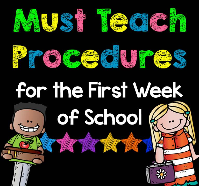 This list of Must-Teach Procedures for the first week of school is the perfect checklist to keep at your desk during the first couple days of school. A must have for all elementary teachers.
