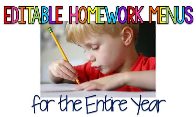 EDITABLE Homework Menus for the ENTIRE Year