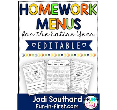 https://www.teacherspayteachers.com/Product/Homework-Menus-for-the-Entire-Year-EDITABLE-1st-Grade-1998668