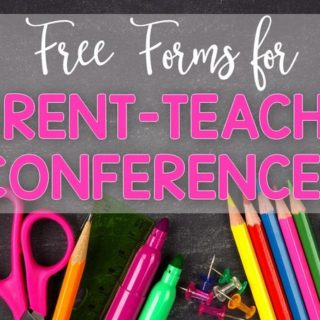 FREE Parent Teacher Conference Forms from Fun in First