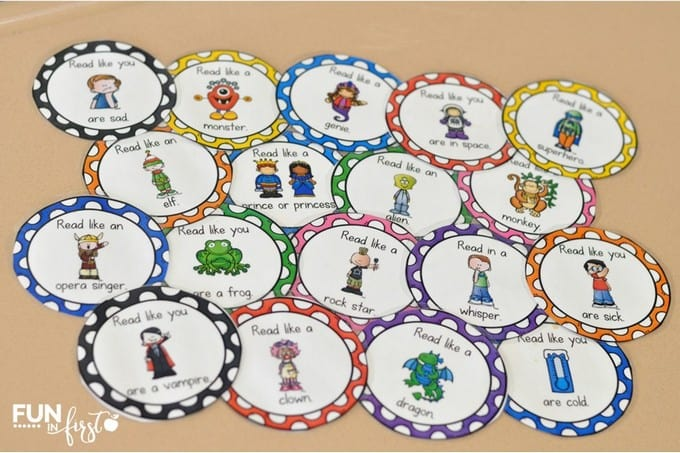 These Fluency Voice Sticks from Jodi Southard @ Fun in First help to make reading exciting.
