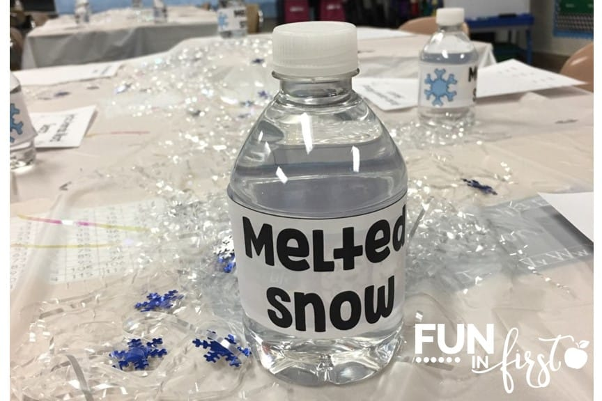 "Love this idea for giving students ""melted snow"" during an Arctic Adventure classroom transformation."