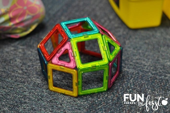 These magnetic shapes are a perfect addition to Morning Tubs.  Check out all of these other ideas for what to put into Morning Tubs from Fun in First.
