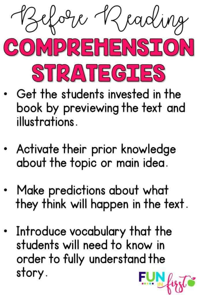 Comprehension strategies for before reading.