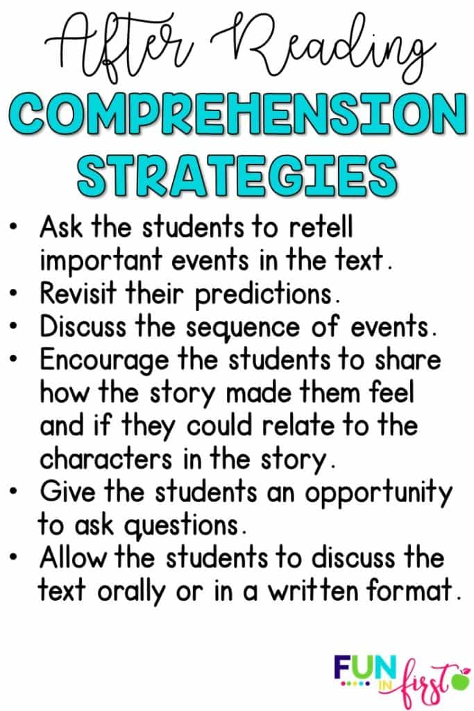 Comprehension Strategies for after reading.