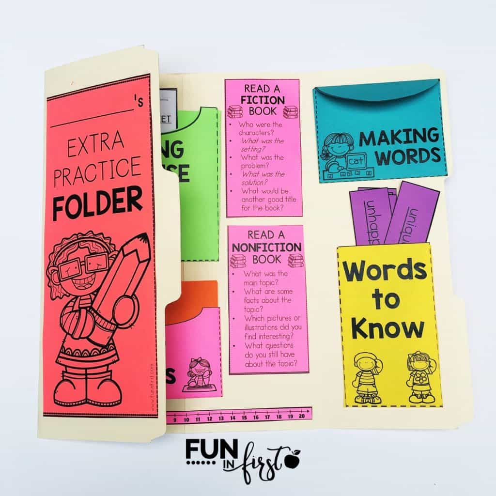This Interactive Practice Folder is perfect for early finishers. Students can practice sight words, vocabulary, math facts, phonics skills, and more.