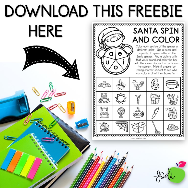 This FREE Santa Spin and Color is perfect for reviewing phonics skills in December.