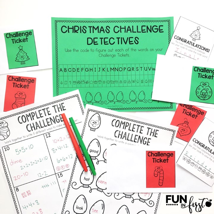 The Christmas Challenge is the perfect way to keep your students engaged before the holidays.  Students will compete in teams to solve 10 academic challenges.  After they solve a challenge, the team will earn a Challenge Ticket to solve a mystery word.  The first team to solve all 10 mystery words, is the winning team.