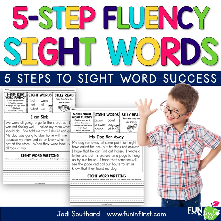 is 5-Step approach to sight word fluency makes learning sight words fun. It is an engaging and effective way to practice sight words in context, which is proven to be more effective than teaching in isolation. This 5-Step Sight Word packet includes 47 fluency passages using the first 300 Fry Sight Words. Students will follow a 5-Step approach to practice.