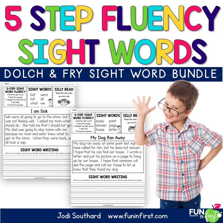 This 5-Step approach to sight word fluency makes learning sight words fun. It is an engaging and effective way to practice sight words in context, which is proven to be more effective than teaching in isolation. This 5-Step Sight Word packet includes 47 fluency passages using the first 300 Fry Sight Words. Students will follow a 5-Step approach to practice.