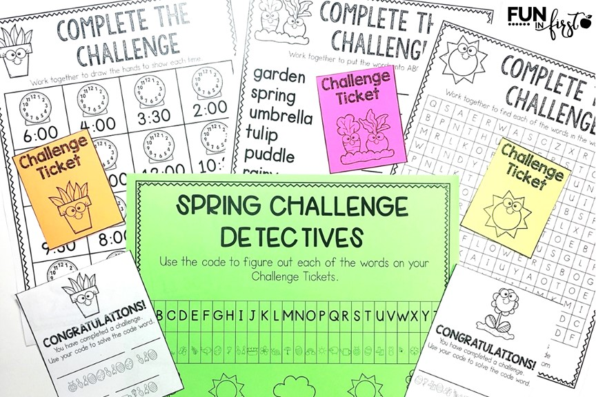 Do you need a fun, engaging, and academic activity for your class to complete anytime this spring? The Spring Challenge is your answer. Your class will compete in small groups to complete 10 academic challenges. After each challenge, the class will open a Challenge Ticket envelope and solve the code word. The first team to solve all 10 code words is the winning team.