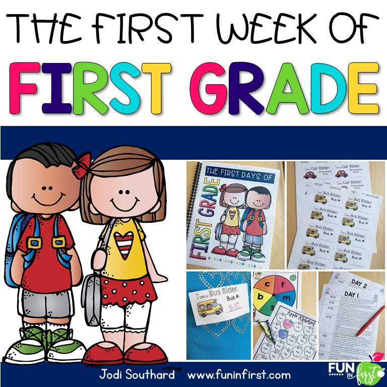 Everything you need for the first week of 1st grade.  Lesson plans, activities, forms, letters, and more.