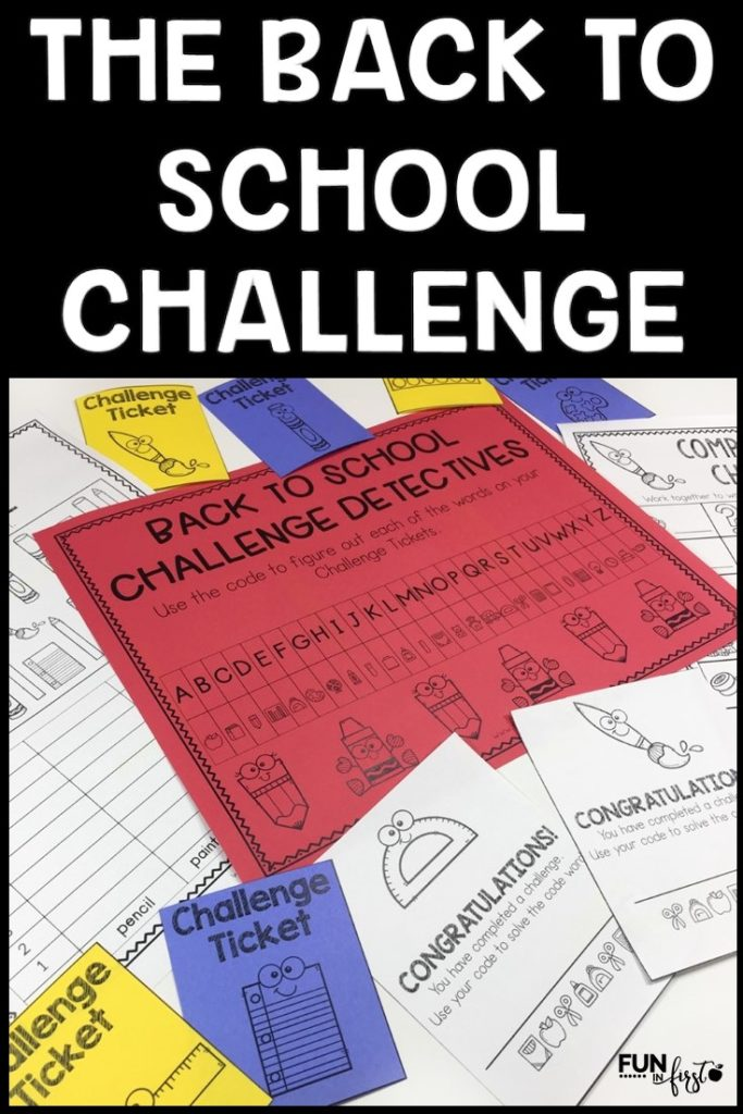 Do you need a fun, engaging, and academic activity for your class to complete anytime during the Back to School season? The Back to School Challenge is your answer. Your class will compete in small groups to complete 10 academic challenges. After each challenge, the class will open a Challenge Ticket envelope and solve the code word. The first team to solve all 10 code words is the winning team.  Letter sounds, missing numbers, counting, rhyming, and more.