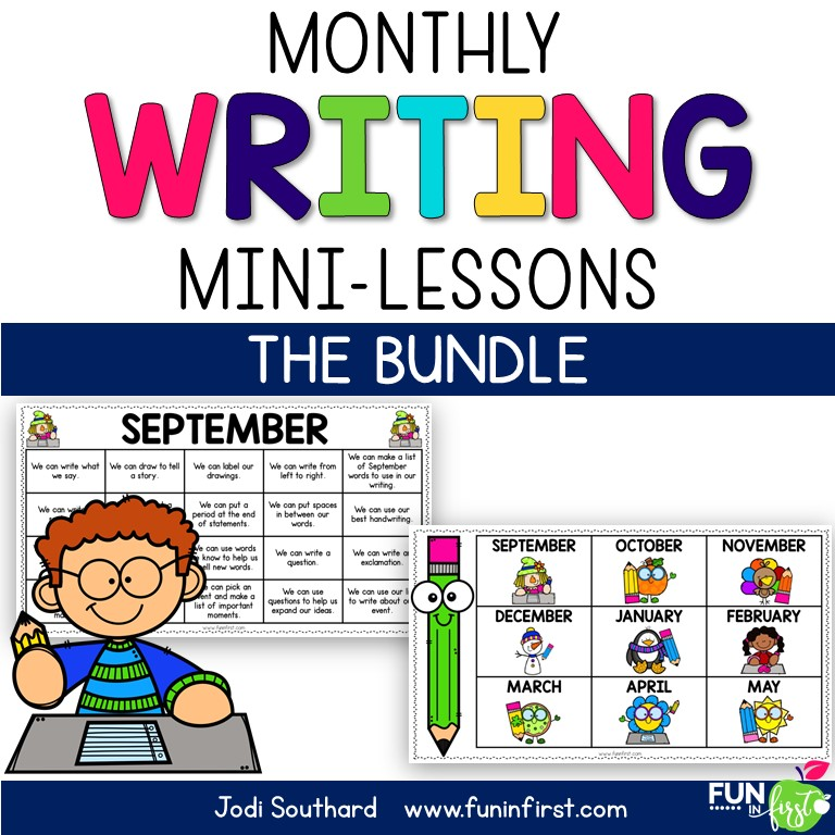 Teaching writing in small mini-lessons makes writing instruction more attainable and gives students more time to spend during their writing block, actually writing. These mini-lessons for the ENTIRE YEAR take the guesswork out of what to teach each day in writing.