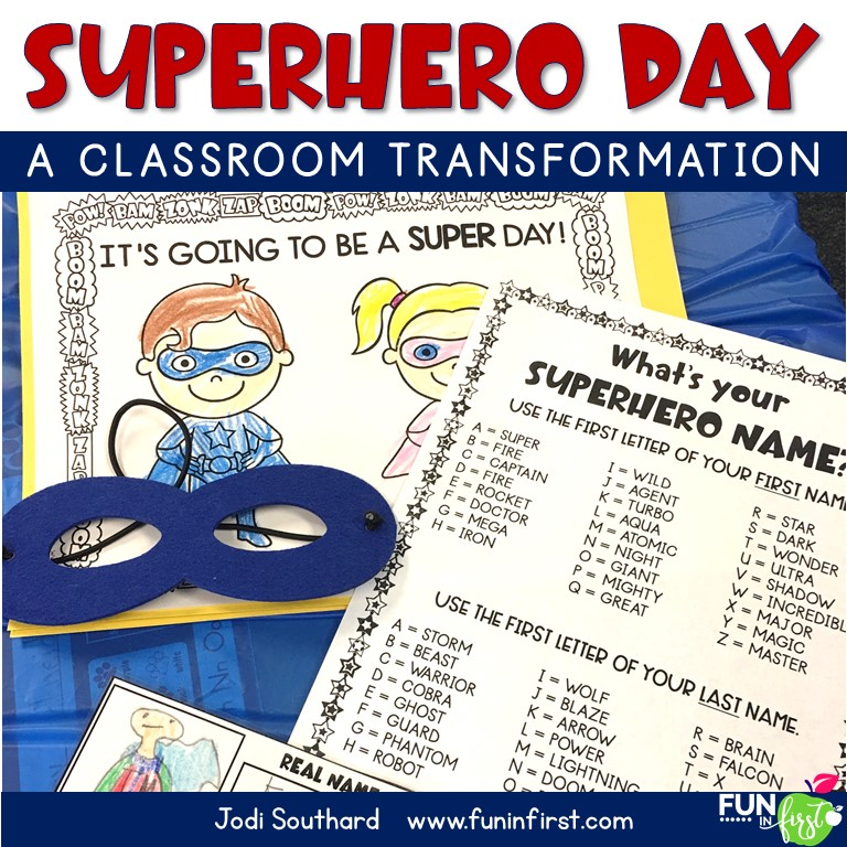 Do your students love superheroes? Transform your classroom into a Superhero Training Camp for the day with this Superhero Day packet. Your students will love completing academic tasks to earn their superhero status. Students will complete reading, math, and writing tasks throughout the day.