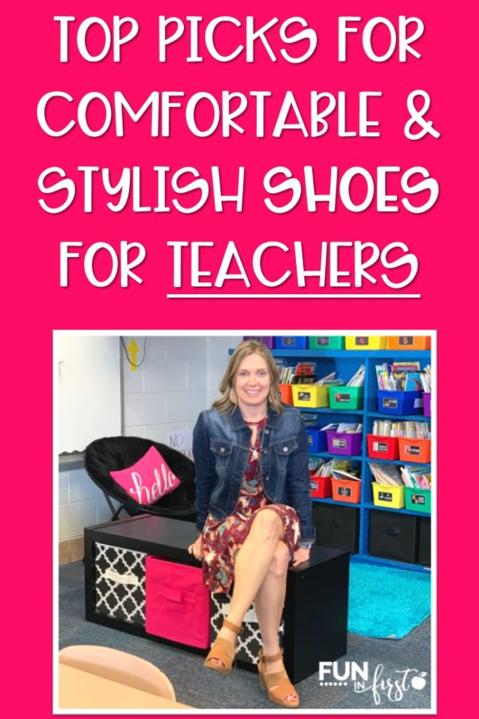 These are my top picks for stylish and comfortable shoes that are perfect for teachers or anyone that is on their feet all day.  This list includes wedge sandals, sneakers, flat sandals, booties, and more.