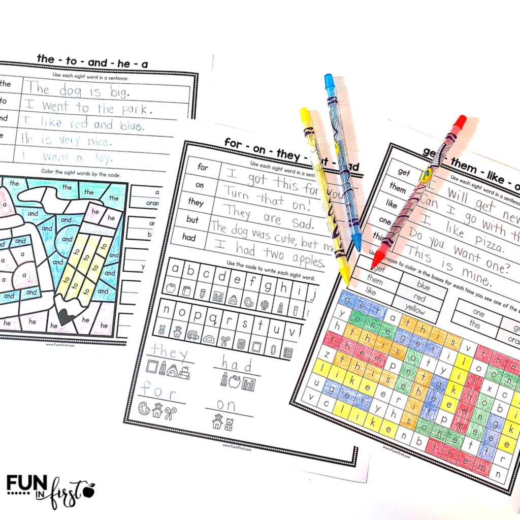 These Sight Word Notebooks are available with the 220 Dolch words or the first 300 Fry words. Students love the variety of activities that allows them to master their sight words.