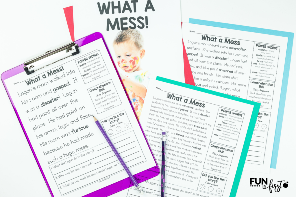Want to save time planning for your small group reading lessons each week? These monthly guided reading packets are your answer! Each Guided Reading packet includes 4 differentiated nonfiction passages, and 4 differentiated fiction passages. (24 passages in all) The passages include a lesson plan example, vocabulary cards, pre-reading activity, 3 levels of reading passages with vocabulary words and comprehension questions, a comprehension graphic organizer, and a writing response page.