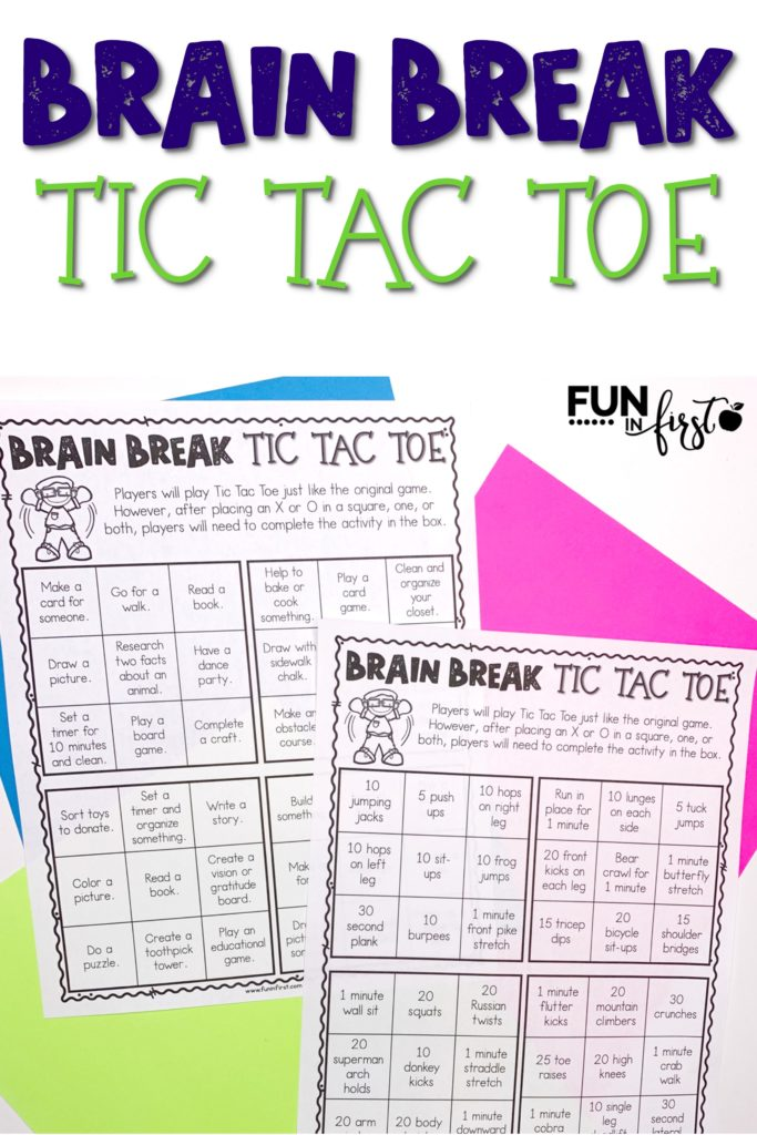 This FREE Brain Break Tic Tac Toe includes 3 sets of activities for children that may be stuck at home. The first set includes quick exercises to get children up and moving. The second set includes longer activities to be completed throughout the day. The third set is completely editable to allow you to type in your own activities.