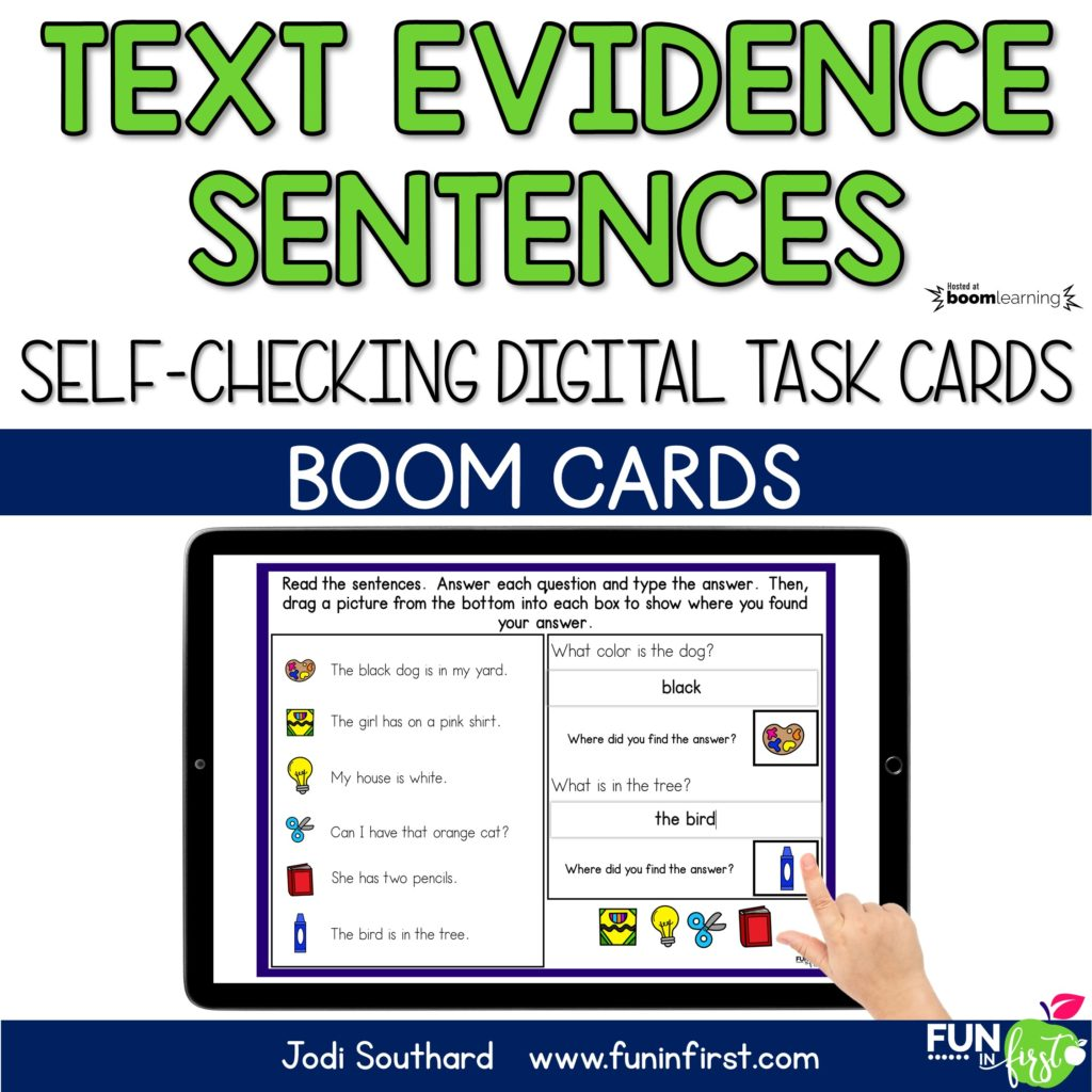 These Boom Digital Task Cards are the perfect way to practice reading comprehension and using text evidence. Students will read each of the sentences. Then, they will answer the two comprehension questions by typing into the boxes. Next, they will drag the pictures into the box to show where they found their answers. These task cards are self-checking through the Boom Learning™️ platform.