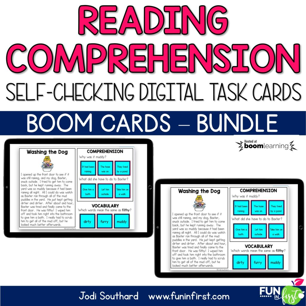 These Boom Digital Task Cards are the perfect way to practice reading comprehension. Students will read each of the short passages. Then, they will answer the two comprehension questions and the vocabulary question on each task card. These task cards are self-checking through the Boom Learning™️ platform.