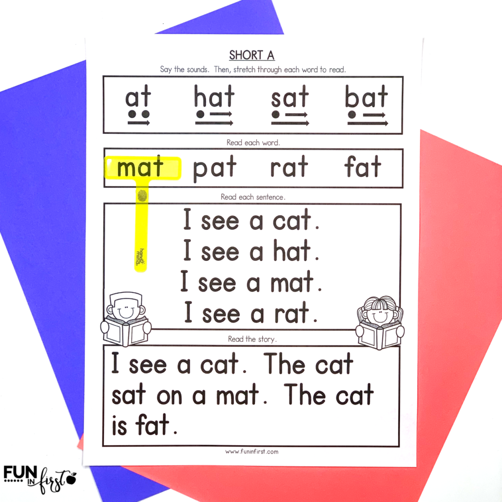 Phonics Reading Mats are a great way to work on phonics and reading fluency. This packet includes 52 reading mats that are perfect for small group reading or a reading fluency folder.