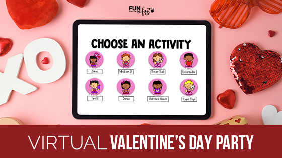 Teaching virtually?  Use this Virtual Valentine's Day Party to celebrate with your students over Google Meet or Zoom.  This also still works well in a whole group during in-person learning.