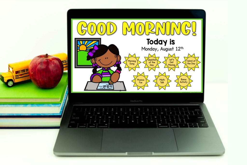 A Digital Morning Meeting is the perfect way to start the day whether you are in the classroom or teaching virtually. Students will be engaged while you work through each of the sections together as a class. Review phonics, math, and vocabulary, and have wonderful and engaging discussions every single morning. This includes 11 months of daily morning meetings. Each monthly download includes 4 weeks of daily Morning Meeting activities.