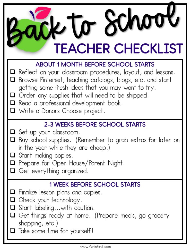 A Back to School Checklist for teachers to help them prepare for the new school year.